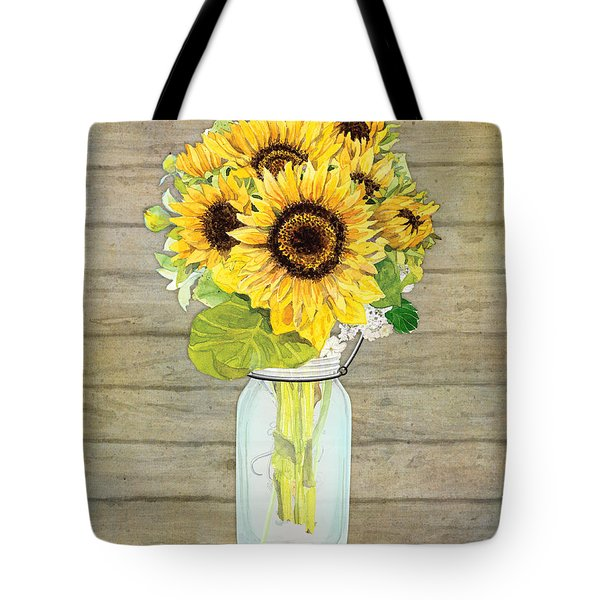 Rustic Country Sunflowers In Mason Jar Tote Bag by Audrey Jeanne Roberts