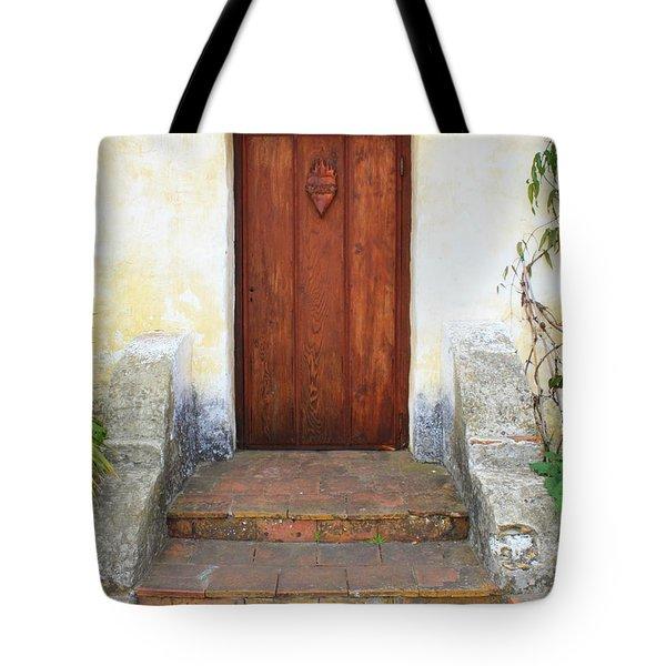 Sacred Heart Door Tote Bag by Carol Groenen
