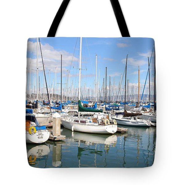 Sail Boats at San Francisco China Basin Pier 42 With The Bay Bridge in The Background . 7D7664 Tote Bag by Wingsdomain Art and Photography