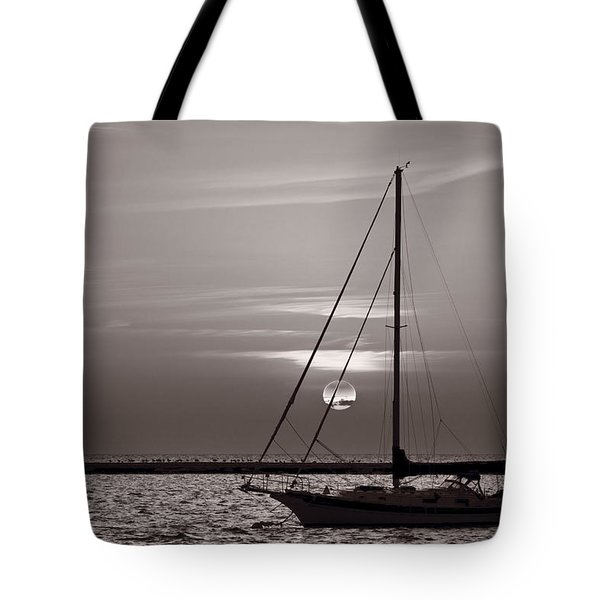 Sailboat Sunrise In B And W Tote Bag by Steve Gadomski