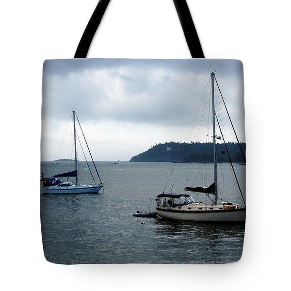 Sailboats In Bar Harbor Tote Bag by Linda Sannuti