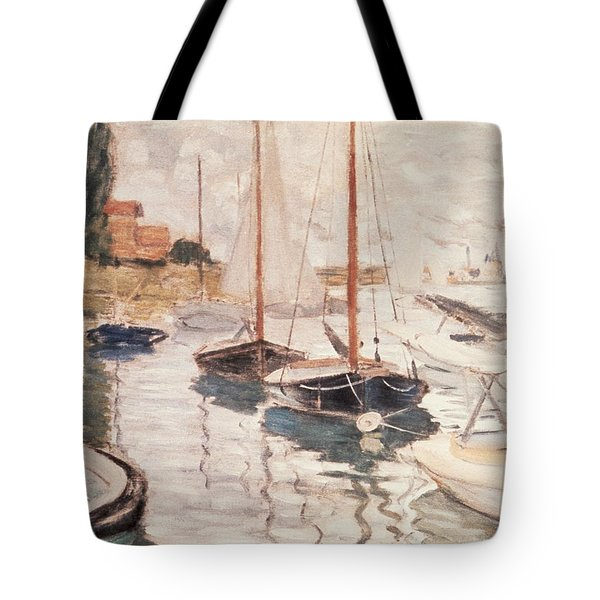Sailboats On The Seine Tote Bag by Claude Monet