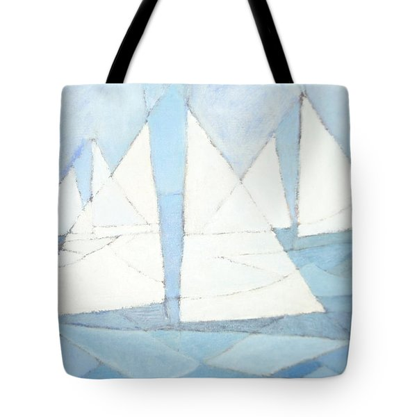 Sailboats On Water  Tote Bag by Priscilla Wolfe