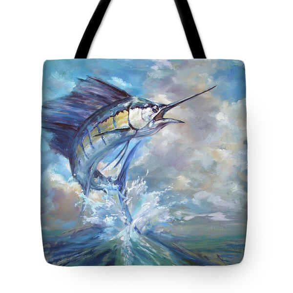 Sailfish And Frigate Tote Bag by Tom Dauria