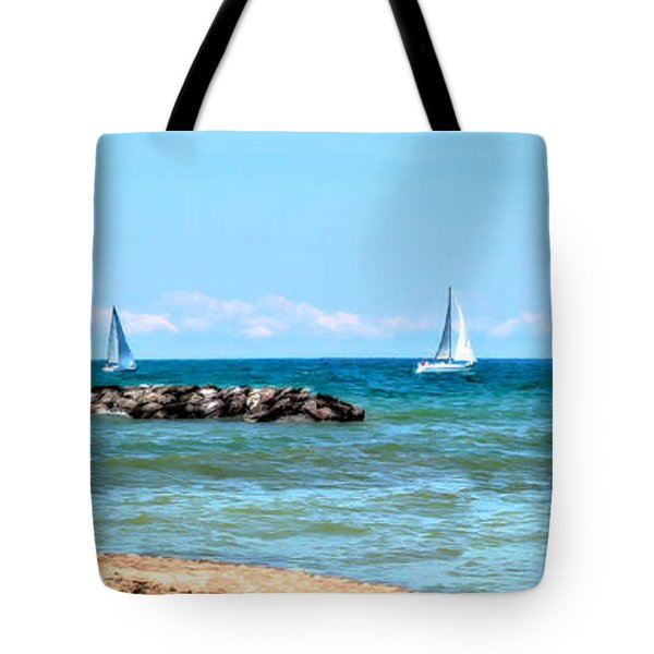 Sailing Days On Lake Erie Panorama Tote Bag by Randy Steele