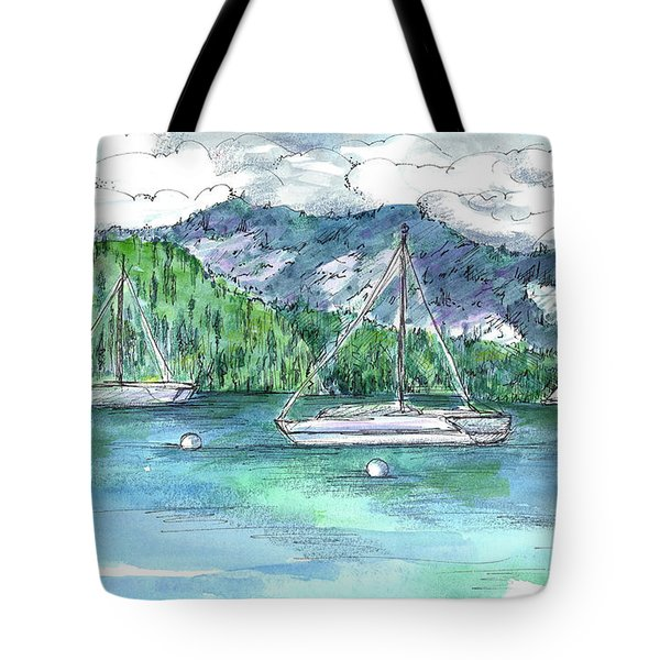 Sailing Lake Tahoe Tote Bag by Cathie Richardson