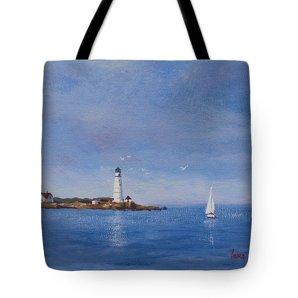 Sailing to Boston Light Tote Bag by Laura Lee Zanghetti