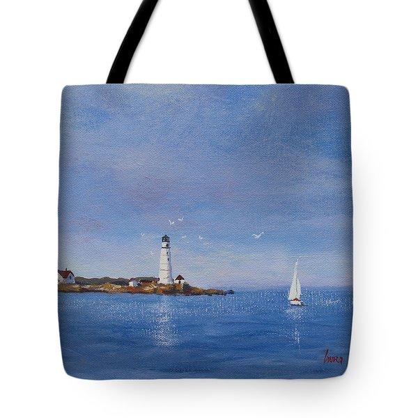 Sailing to Boston Light Tote Bag by Laura Lee Zanghetti