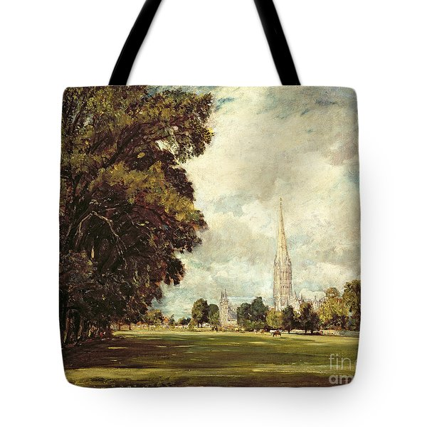 Salisbury Cathedral From Lower Marsh Close Tote Bag by John Constable