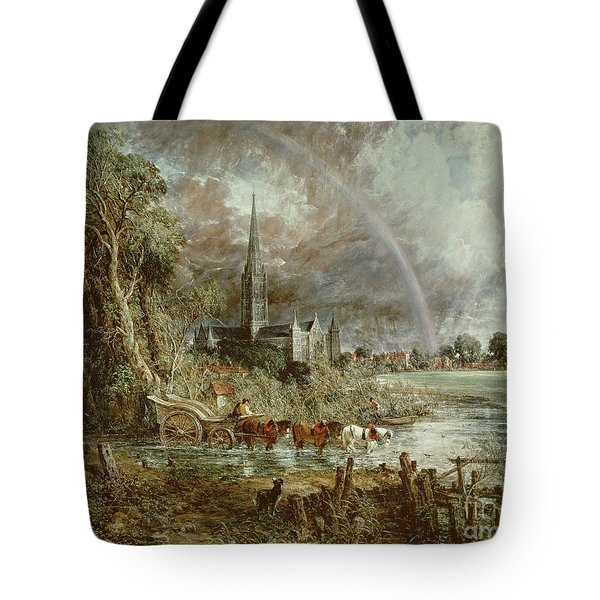 Salisbury Cathedral From The Meadows Tote Bag by John Constable