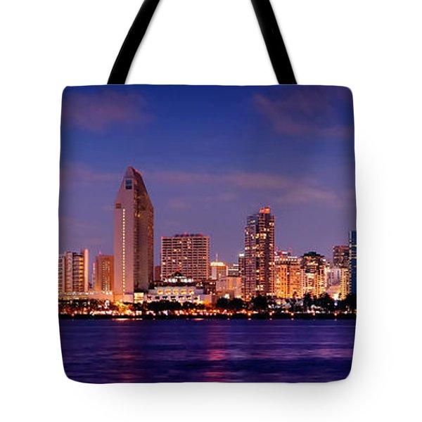San Diego Skyline At Dusk Tote Bag by Jon Holiday