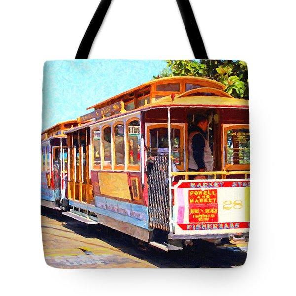 San Francisco Cablecar At Fishermans Wharf . 7D14097 Tote Bag by Wingsdomain Art and Photography