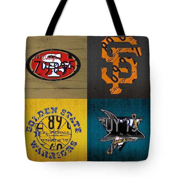 San Francisco Sports Fan Recycled Vintage California License Plate Art 49ers Giants Warriors Sharks Tote Bag by Design Turnpike