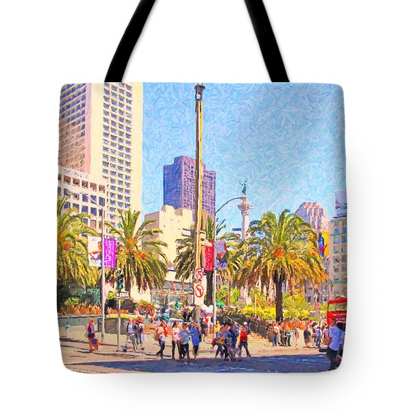 San Francisco Union Square Tote Bag by Wingsdomain Art and Photography