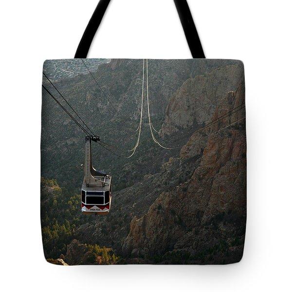 Sandia Peak Cable Car Tote Bag by Joe Kozlowski
