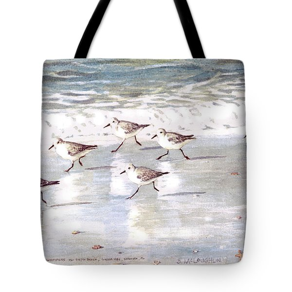 Sandpipers On Siesta Key Tote Bag by Shawn McLoughlin