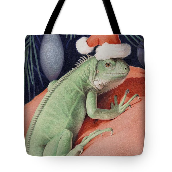 Santa Claws - Bob The Lizard Tote Bag by Amy S Turner