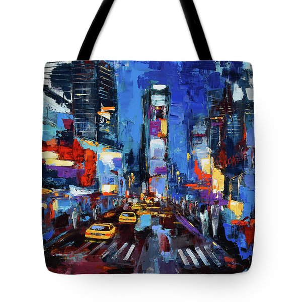 Saturday Night In Times Square Tote Bag by Elise Palmigiani