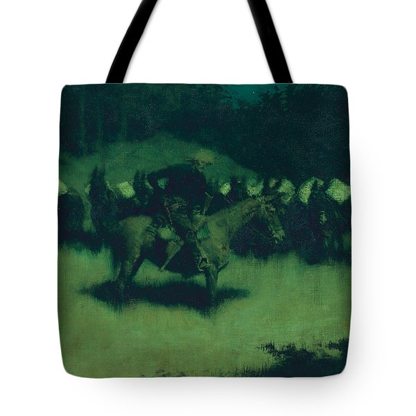 Scare In A Pack Train Tote Bag by Frederic Remington