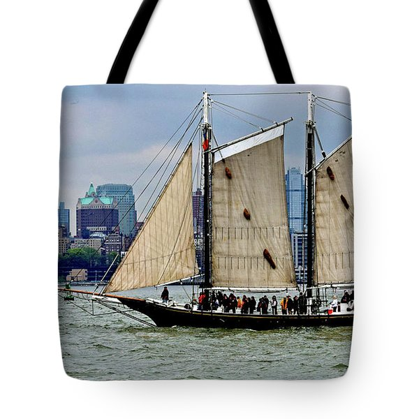 Schooner On New York Harbor 1 Tote Bag by Sandy Taylor