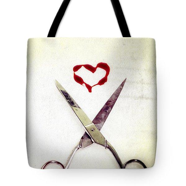 scissors and heart Tote Bag by Joana Kruse
