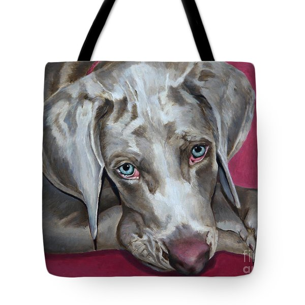 Scooby Weimaraner Pet Portrait Tote Bag by Enzie Shahmiri