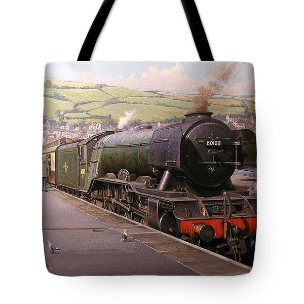 Scotsman At Kingswear Tote Bag by Mike  Jeffries