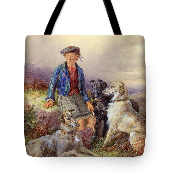 Scottish Boy With Wolfhounds In A Highland Landscape Tote Bag by James Jnr Hardy