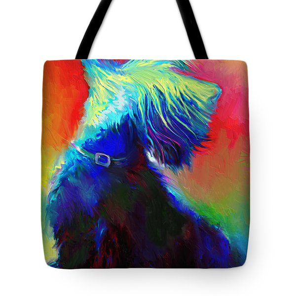 Scottish Terrier Dog Painting Tote Bag by Svetlana Novikova