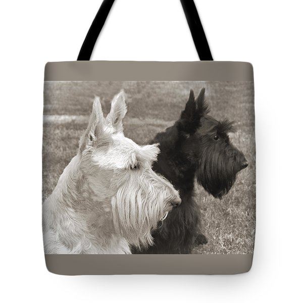 Scottish Terrier Dogs in Sepia Tote Bag by Jennie Marie Schell