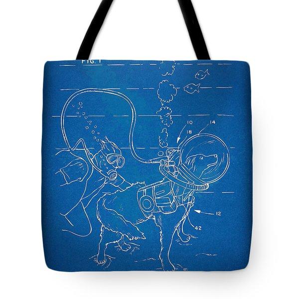 Scuba Doggie Patent Artwork 1893 Tote Bag by Nikki Marie Smith