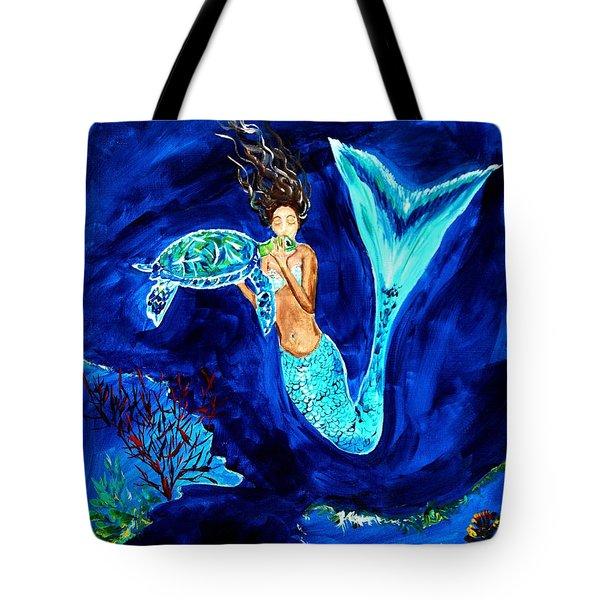 Sea Turtle Kiss Tote Bag by Leslie Allen