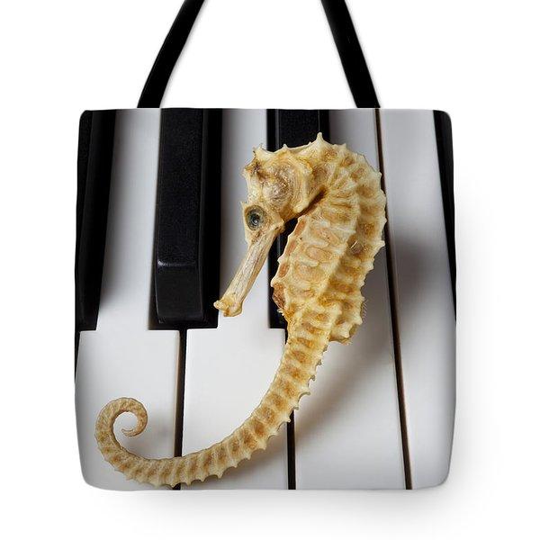 Seahorse On Keys Tote Bag by Garry Gay