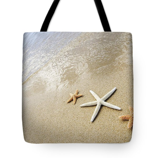 Seastars On Beach Tote Bag by Mary Van de Ven - Printscapes