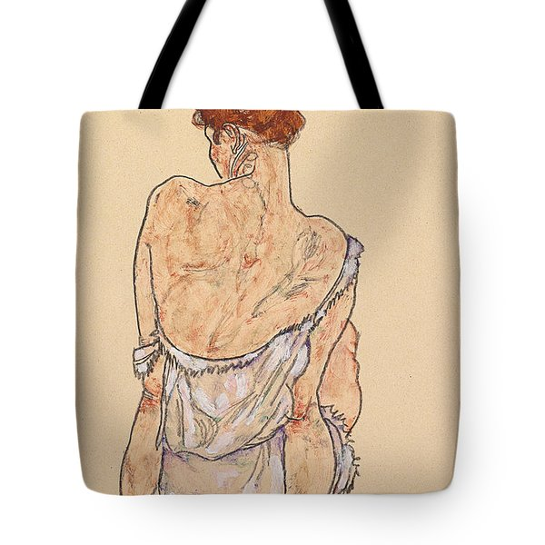 Seated Woman In Underwear Tote Bag by Egon Schiele