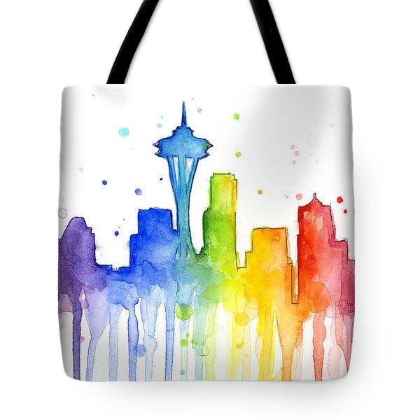 Seattle Rainbow Watercolor Tote Bag by Olga Shvartsur