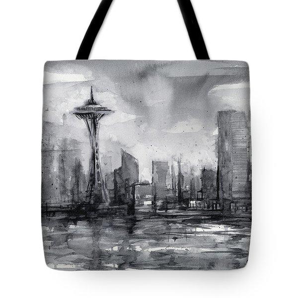 Seattle Skyline Painting Watercolor  Tote Bag by Olga Shvartsur