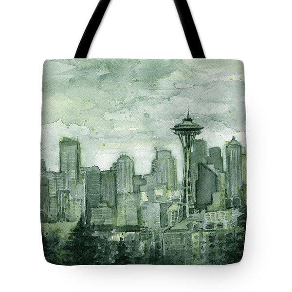 Seattle Skyline Watercolor Space Needle Tote Bag by Olga Shvartsur