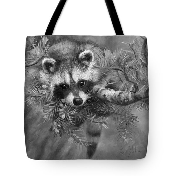 Seeking Mischief - Black And White Tote Bag by Lucie Bilodeau