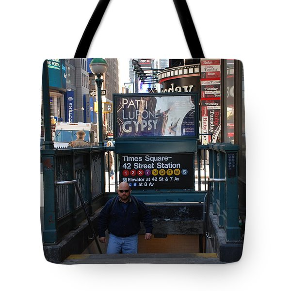 SELF AT SUBWAY STAIRS Tote Bag by ROB HANS