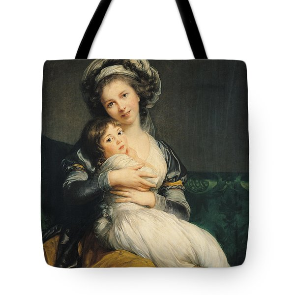 Self Portrait In A Turban With Her Child Tote Bag by Elisabeth Louise Vigee Lebrun