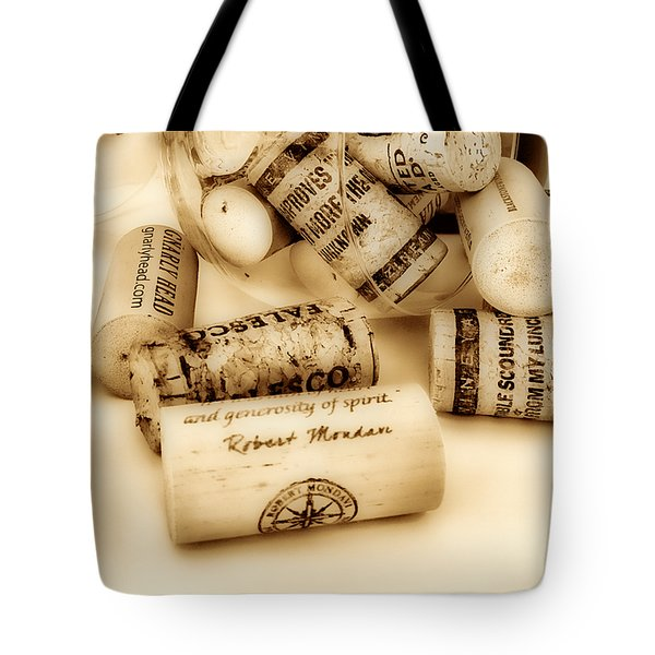 Sepia Corks Tote Bag by Cheryl Young