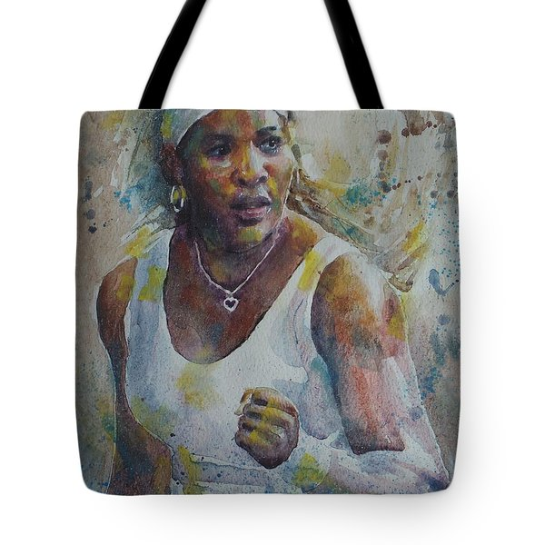 Serena Williams - Portrait 5 Tote Bag by Baresh Kebar - Kibar