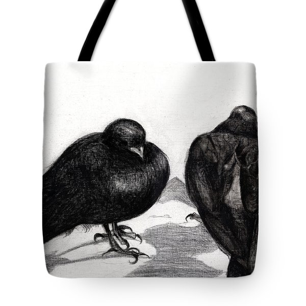 Serious Pigeon Situation Tote Bag by Nancy Moniz
