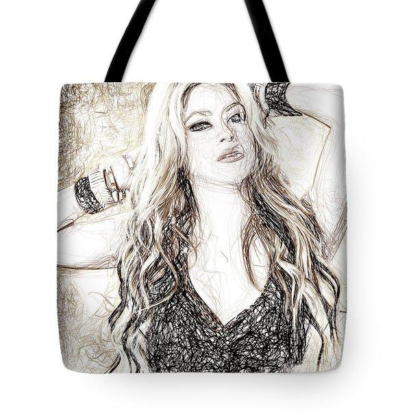 Shakira - Pencil Art Tote Bag by Raina Shah