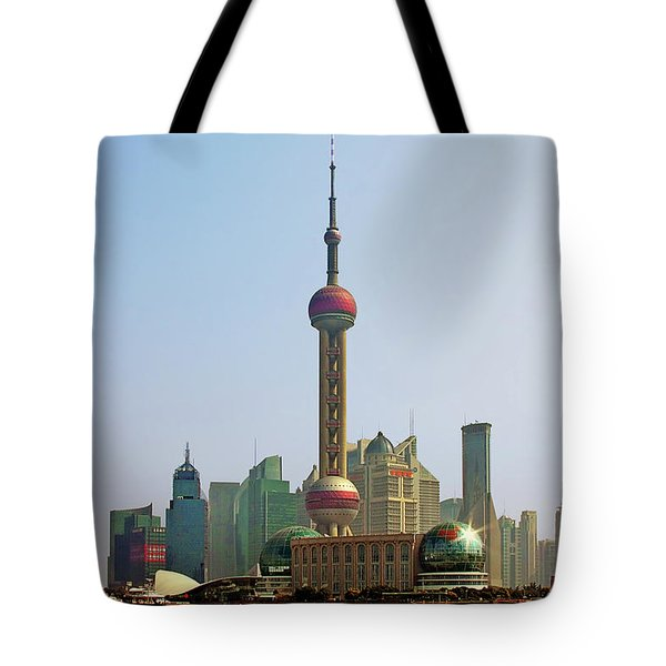 Shanghai Pudong - Today Denser Than Yesterday But Less Than Tomorrow Tote Bag by Christine Till