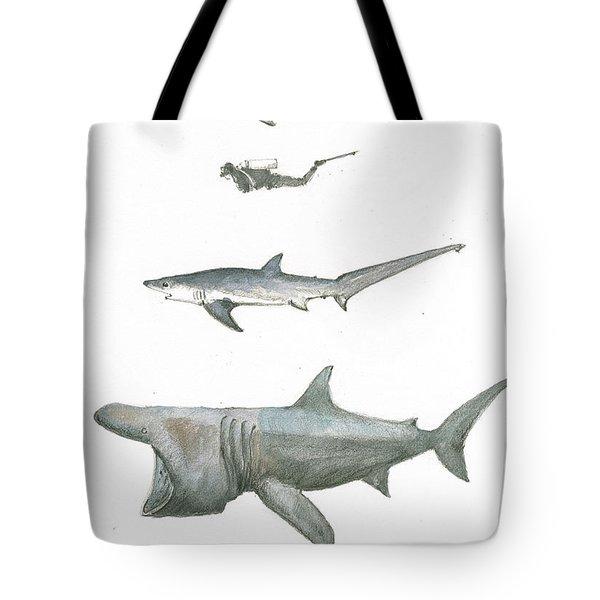 Sharks In The Deep Ocean Tote Bag by Juan Bosco
