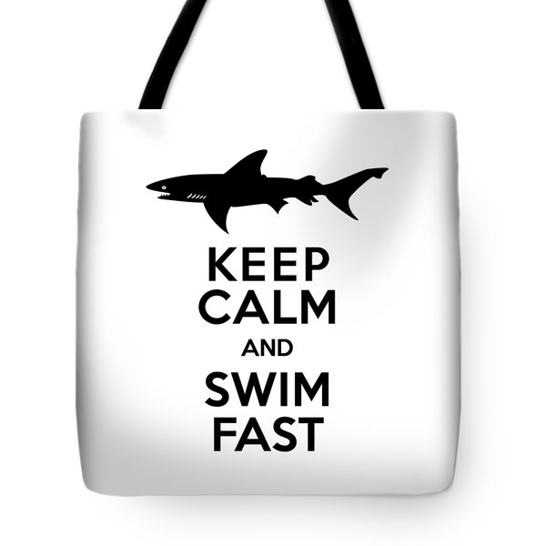 Sharks Keep Calm And Swim Fast Tote Bag by Antique Images