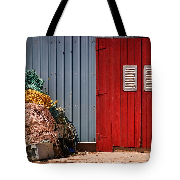 Shed doors and tangled nets Tote Bag by Louise Heusinkveld