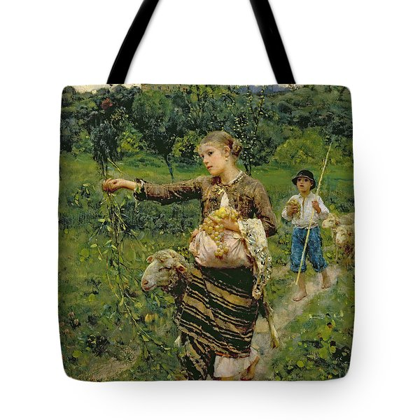 Shepherdess Carrying A Bunch Of Grapes Tote Bag by Francesco Paolo Michetti